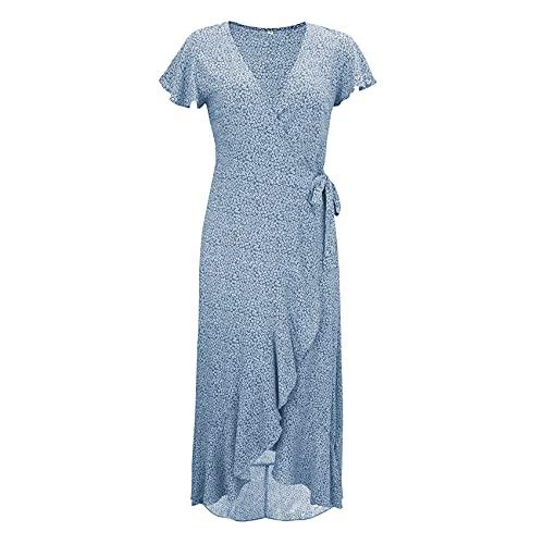 KeYIlowys Jurk met V-hals voor dames, bedrukte jurk met korte mouwen, zomerjurk, casual split - blauw - 5XL