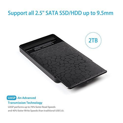Salcar werkzeuglos USB 3.0 Externes Festplatten Gehäuse für 9.5mm 7mm 2.5 Zoll SATA I SATA II SATA III SATA SSD und HDD mit USB3.0 Kabel Keine Zusätzlichen Treiber Benötigt (Schwarz)
