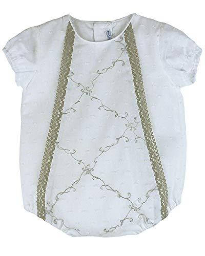 ANCAR- Pelele Blanco de plumeti con puntilla, con Manga Corta y Botones de Apertura para Cambio del pañal, 100% algodón, Lavado a máquina 30ºC