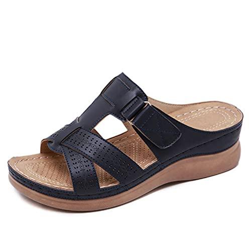 Jingli Orthopedische damesschoenen open teenslippers dames platform slippers zomer strand rubber zachte zool