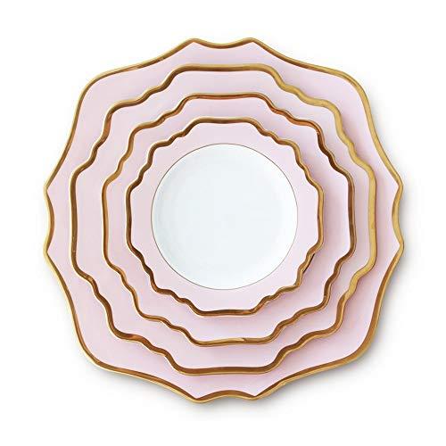 Placa de decoración de Mesa China de Hueso del vajilla Rosa Claro de la Flor de Sun Cena Placa de Oro Set Hotel Restaurante Steak hogar Placa Placa de cerámica Placa de Filete Occidental