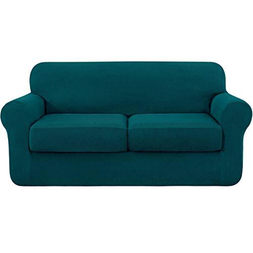 subrtex Sofabezug mit 2 Separatem Sitzkissenbezug Stretch Sofahusse Couchbezug Elastischer Stretchhusse für Sofa (2 Sitzer, Petrol Blau)