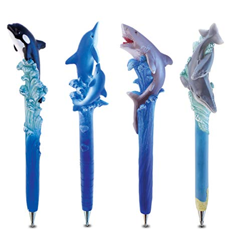 Puzzled Resin Planet Pen collection - Killer Whale, Dolphin With Baby, biting shark and Humpback With Baby