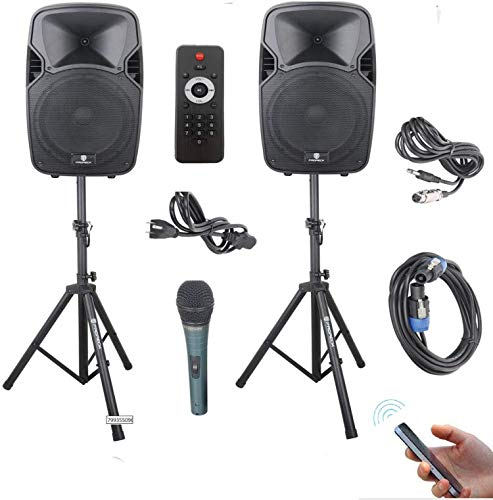 PRORECK Party 12 12-Inch 1000 Watts 2-Way Powered PA Speaker System Combo Set with Bluetooth/USB/SD Card Reader/FM Radio/Remote Control/Speaker Stand
