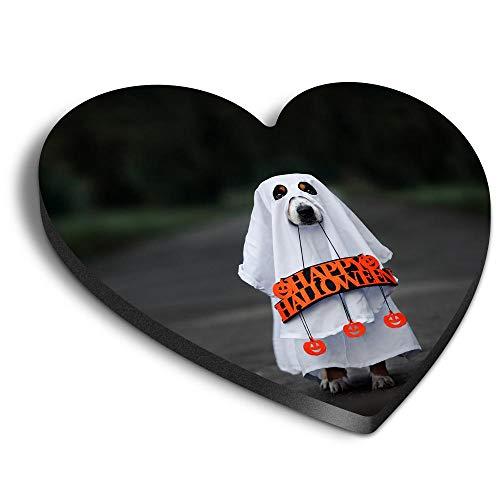 Destination Vinyl ltd Imn de MDF con forma de corazn  Ghost Dog Halloween Disfraz para oficina, armario y pizarra blanca, pegatinas magnticas 45145