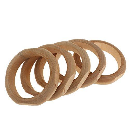 MagiDeal 5pcs Armreif Holz - Holzarmreif Rohling zum Basteln Bemalen Selbst-Gestalten DIY Armband