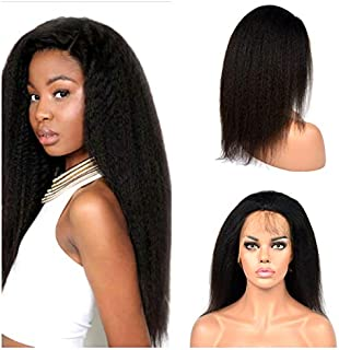 Poliga Hair Italian Yaki 360 Lace Frontal Wigs Pre Plucked with Baby Hair Human Hair for Black Women 180% Density Natural Color (16