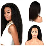 Poliga Hair Italian Yaki 360 Lace Frontal Wigs Pre Plucked with Baby Hair Human Hair for Black Women 180% Density Natural Color (12' silk top)
