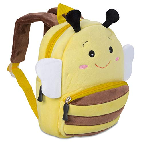 Kinderrucksack für Kleinkinder Kindergarten Rucksack für Kinder Backpack Schultasche Tier-Rucksäcke 1-4 Jahre, Robust, Leichtgewichtig, Flauschig & ergonomische Träger (Biene)