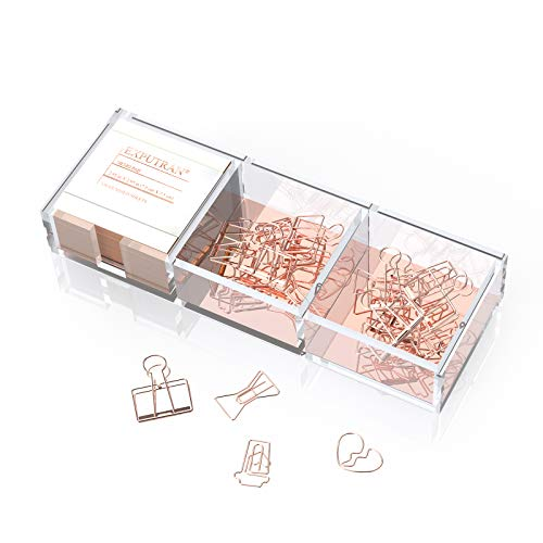 EXPUTRAN Acrylic and Rose Gold Base Note Holder,Paper Clips Holder for Desk,330 Sheets Cube Memo Pad and 15 Creative Paper Clips per 3 Compartments Desktop Organizer