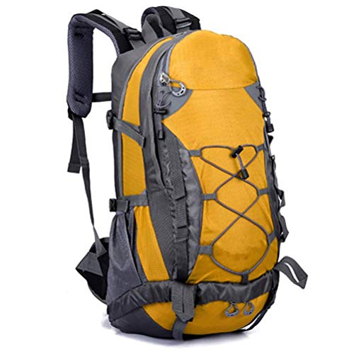 DZX Mochila Ligera, 50L Mochila para Acampar al Aire Libre Hombre de montaña Mujer Senderismo Bolsa de Viaje Caza Pesca Trekking Mochila Mochila de Escalada táctica (Color: Amarillo)