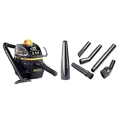 "Vacmaster Professional - Professional Wet/Dry Vac, 5 Gallon, Beast Series, 5.5 HP 1-7/8"" Hose Jobsite Vac (VFB511B0201), Black & Vacuum Detail Cleaning Accessory Kit, V1MK"
