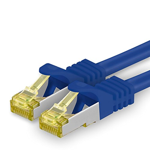 1aTTack.de Cat.7 netwerkkabel - Cat7 ethernetkabel netwerk internet DSL modem router hub patchkabel LAN-kabel ruwe kabel 10 Gb/s (SFTP PIMF LSZH) set patchkabel met Rj 45 stekker Cat.6a 1m blauw - 1 stuk