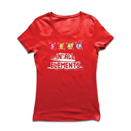 lepni.me Camiseta Mujer Patinador en Todos los Elementos Química Periódica de Mesa Deporte (XX-Large Rojo Multicolor)