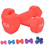 Neoprene Dumbbell Barbell Hand Weights 3/5/8/10 Pound for Warm Up&Women, Set of 2 (8LB X 2PCS)