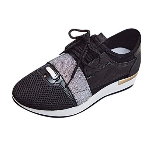 Chaussure de Sport Femme Pas Cher Baskets de Running Fitness Gym Loisirs Sneakers Basses Soldes Mesdames Chaussures de Course à Lacets