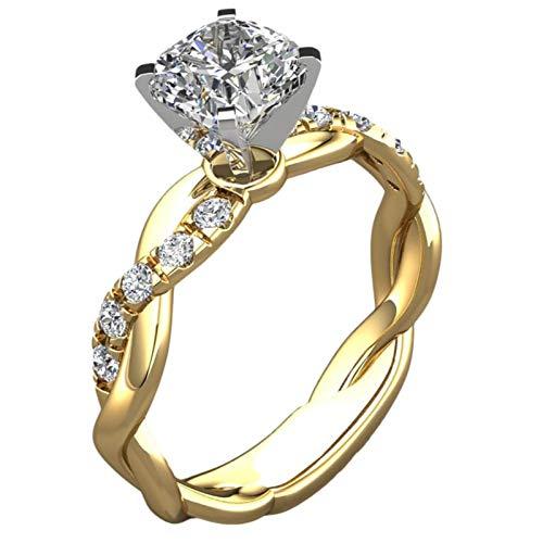Ablerfly Anillos de boda para mujer, chapados en oro, dos tonos, anillos de diamantes, joyería para niña, regalo adecuado para propuestas de boda