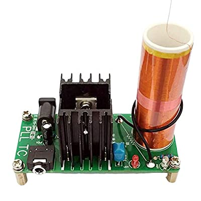HiLetgo Tesla Coil Arc Experiment Plasma High Temperature High Pressure Plasma Magical Scientific Experiment Students Electronic DIY Production with Music Playback Input Voltage 15-24V 15W 2A