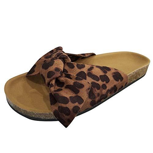 Xmiral Bowknot Slipper Damen Mode Flache Hausschuhe, Strandschuhe Sandalen mit Flache Sohle(40,Braun)