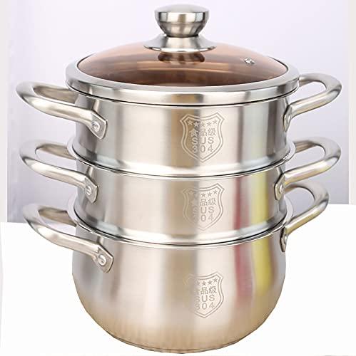 Vapor/olla de sopa 304 Acero inoxidable Mini Pote Multi-capa Espesor engrosado Cocina de inducción Hogar Sopa Pot Soup Hove de gas (Size : 20cm)