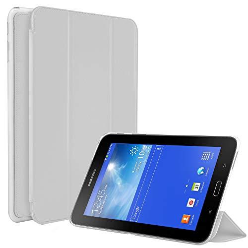 N NEWTOP Funda compatible para Samsung Galaxy Tab 3 Lite/Pro de 7 pulgadas T110 T111, funda Flip Smart Libro TPU Back Front Ultra Delgada Ligera Stand Función Wake/Sleep Simil piel (blanco)