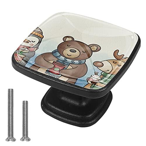 Cervo orso pinguino Quadratische Kommodenknopf Kristallglas Kommodengriff Zieht Möbelknopf Schubladenknöpfe Ziehen für Schrankknöpfe für Schrank Kommode Schrank 4er, Schwarz 30 mm