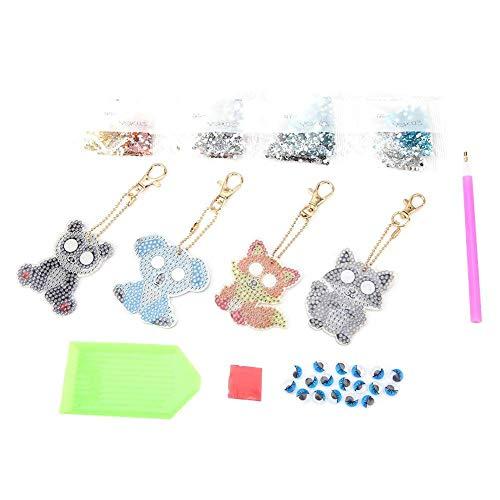 N-brand Cartoon Theme Animal Keychain DIY Jewelry Resin Diamond Keychain for Gift Decoration Fox Panda Koala Raccoon
