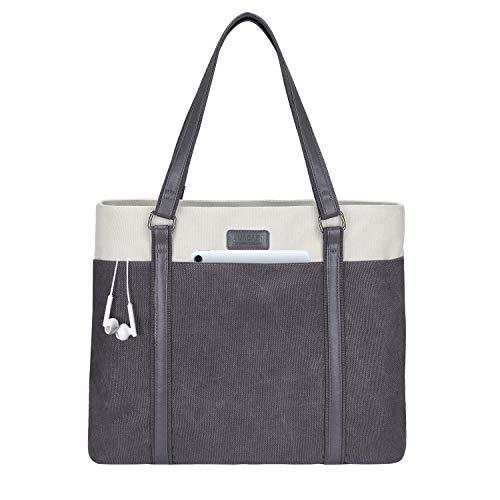 LIVACASA Laptoptasche Damen Business Tote Bag 15.6 Zoll Laptop Verschleißfest Handtasche Notebooktasche Leicht Umhängetasche Schopper Arbeit Aktentasche Schultertasche für Business Schule Grau