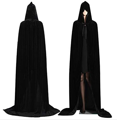 CHSYOO Mantello Nero con Cappuccio Mantello Lungo con Cappuccio per Halloween Costume Party Strega Diavolo Vampiro Cosplay Fancy Dress