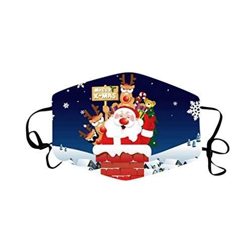 HROIJSL 1PC Christmas Festival Theme 3D Design Nose Covering,Fashion Convenient Washable Breathable Scarf Bandana Headwear,Lucky and Happy Cloth(K,One Size