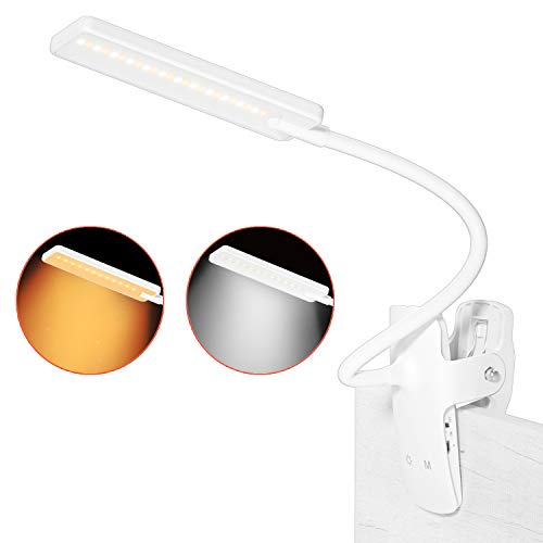 LENCENT Luz Lectura Lámpara de Escritorio 24 LED recargable, 9 Modos de Brillo (LED cálido y blanco) Lámpara de Libro Clip para Camas, Pinza de LED en la Lámpara para Cabecera, Oficina