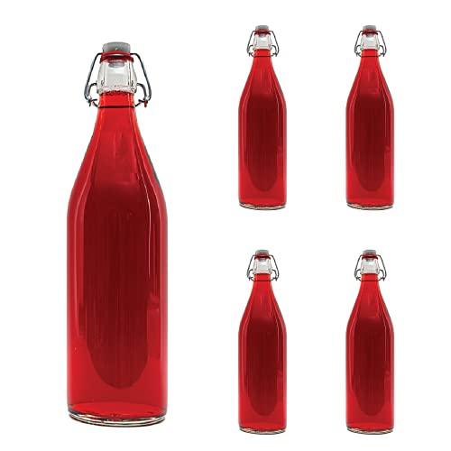 Casavetro Clear Swing Top Botellas de vidrio vacías 1000 ml - Tapón...