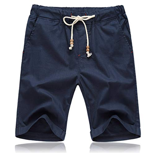 Tansozer Pantaloncini Uomo Estivi Lino Cotone Casual con Tasche Blu S