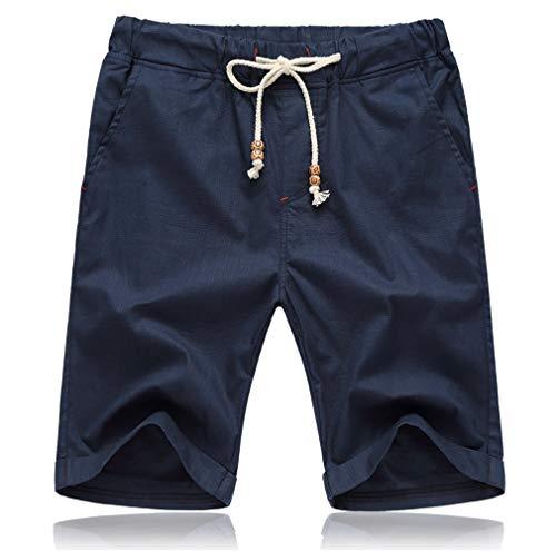 Tansozer Kurze Hosen Herren Shorts Sommer Bermuda Baumwolle Leinen mit Gummizug Taschen Blau XL