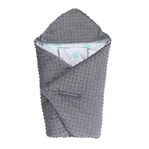 TupTam Einschlagdecke 5 Punkt Gurt für Babyschale - Winter, Farbe: Sterne Mint/Grau, Größe: ca. 75 x 75 cm