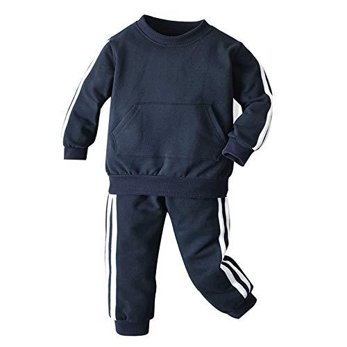 YiZYiF Conjunto de 2 Piezas de Traje Deportivo Niñas para Otoño de Color Liso a Rayas Sudadera con Manga Larga Bolsillo y Pantalones con Cintura Elástica Azul Marino 7-8 años