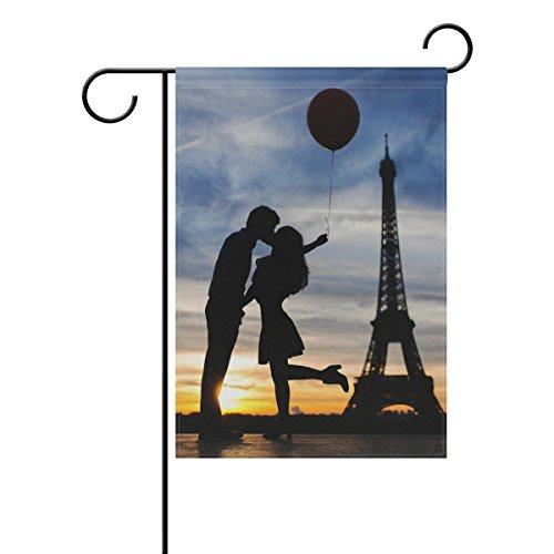 LIANCHENYI Kissing Paris doppelseitig Familie Flagge Polyester Outdoor Flagge Home Party Decro Garten Flagge 30,5x 45,7cm