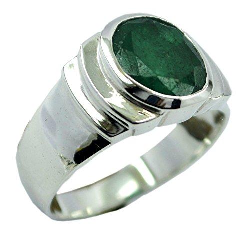 Jewelryonclick Echte indische Smaragd Silber Ring Chakra Healing Green Edelstein Schmuck Geschenk in Allen Größen