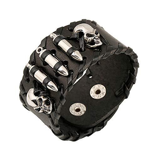 AllRing Black Skull Biker leren armband, zwart