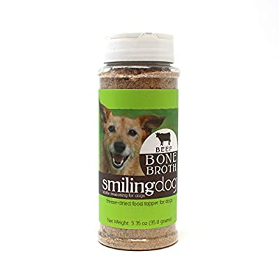 Herbsmith Bone Broth Kibble Seasoning - Freeze Dried Meat + Bone Broth Powder for Dogs - Healthy Dog Food Toppers - Beef