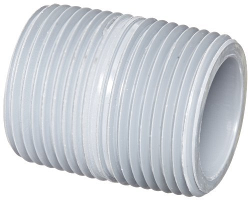 GF Piping Systems CPVC Pipe Fitting, Close Nipple, Schedule 80, Gray, 1 NPT Male, 1-1/2 Length by GF Piping Systems