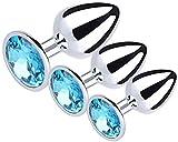 Joyas 3PCS Acero inoxidable Stee Ànâles-Plúg Set-Jewelry Diamond Àmàl Didos B-ütt Back Personal Massage Saxx Juguete para mujeres Parejas Juego de cosplay (Oro)-Cielo azul-1