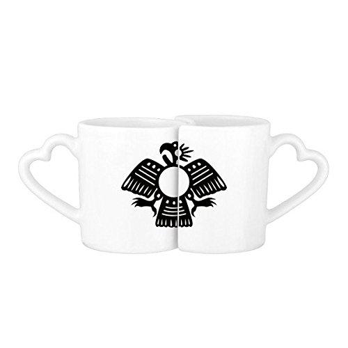 DIYthinker Pharaon l'Egypte Antique Motif Abstrait décoratif Sacrifice d'art d'Eagle Silhouette Lovers de Tasse Amant Tasses en Verre Blanc Poterie Céramique Coupe du Lait Tasse de café avec poignée