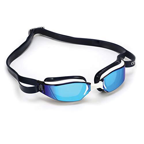 Phelps XCEED, Occhialini da Nuoto Unisex-Adulto, Lente a Specchio in Titanio Bianca e Blu/Blu, Taglia Unica
