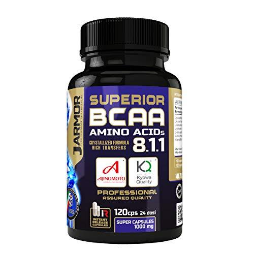 J.ARMOR PROFESIONAL BCAA 8.1.1 Kyowa Ajinomoto 120 cps 1000mg Aminoácidos ramificados con vitamina B6 | Transferencia alta cristalizada Calidad sin igual Cápsulas de liberación inmediata Vegan