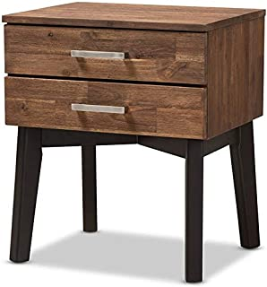 Baxton Studio Selena 2 Drawer Nightstand in Caramel and Dark Brown