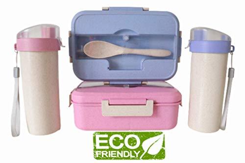A/N Lunchbox mit Trinkflasche Weizen Strohhalm,3 Fächer Lunchbox für Kinder,Lunch Box mit Fächern,Brotdose für Kinder,hält frische Lebensmittel (Blau)