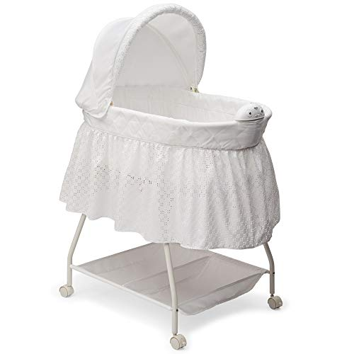 Delta Children Deluxe Sweet Beginnings Bedside Bassinet - Portable Crib with Lights...