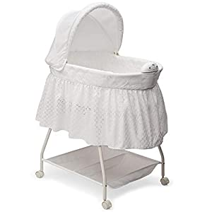 Delta Children Deluxe Sweet Beginnings Bedside Bassinet – Portable Crib with Lights and Sounds, Turtle Dove