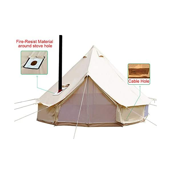 Sporttent Camping 4 Season Waterproof Cotton Canvas Bell Tent with Stove Hole and Cable Hole 1